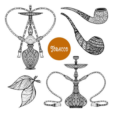 Doodle retro smoke set with hookah and pipes with ornament isolated vector illustration
