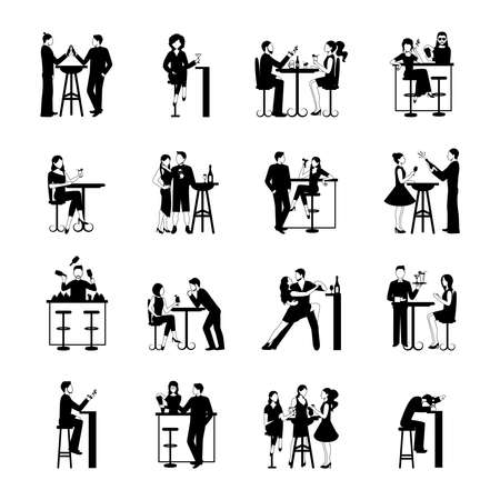 Drinking people icons set black and white isolated vector illustration