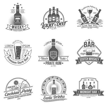 Alcohol drinks premium quality black label set isolated vector illustration