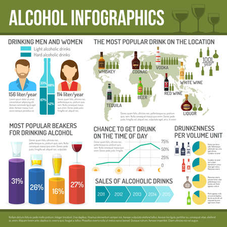 Alcohol infographics set with cocktail drink symbols and charts vector illustration