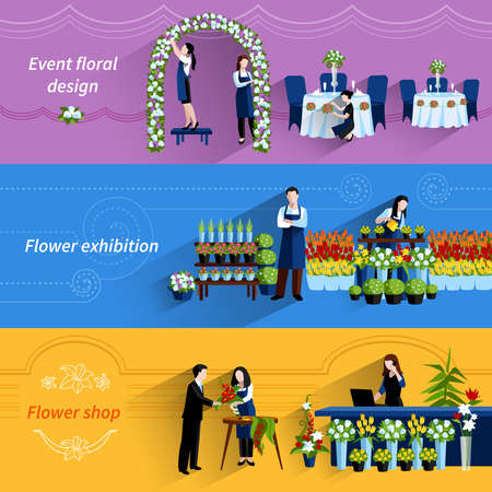 Flower arrangements for special events and retail shop service 3 flat banners set abstract vector isolated illustration