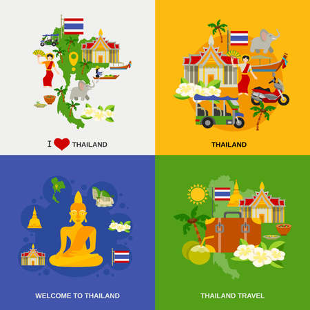 Thailand tourism concept icons set with sightseeing traditional food and drinks flat isolated vector illustration