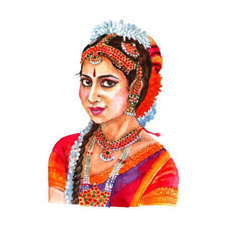 Portrait of beautiful indian lady in traditional women clothing and hair arrangement red watercolor abstract vector illustration