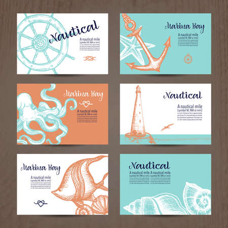 Hand drawn card set with nautical symbols isolated vector illustration