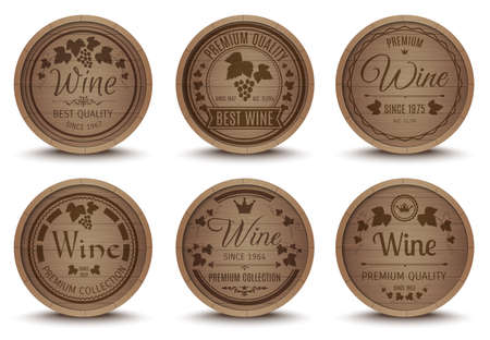 Wine oak barrels special collection labels emblems set for best quality premium product abstract isolated vector illustration