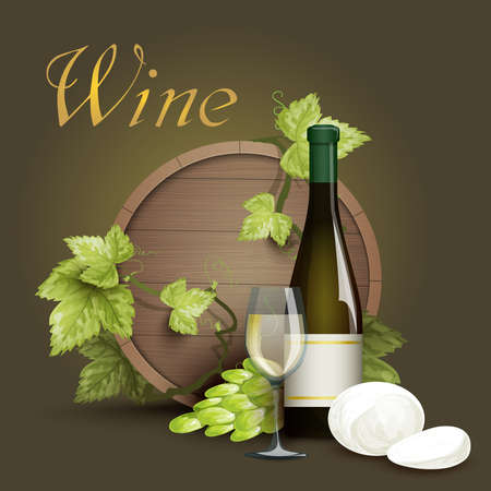 Wine bottle glass with oak barrel and grapevine element on dark background decorative poster abstract vector illustration