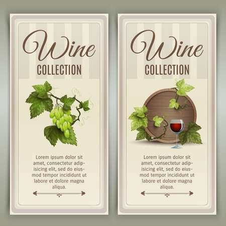 Winery farm quality wines collection advertisement 2 vertical banners set with oak barrel abstract vector isolated illustration