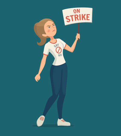 Walkout woman with strike placard on blue background cartoon vector illustration