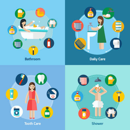Personal hygiene 4 flat icons square composition banner with shower and teeth care abstract isolated vector illustration