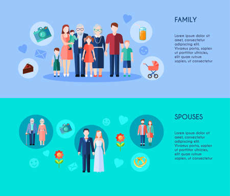Two horizontal banners of extended family with different generations members and various age spouses flat vector illustration Vettoriali