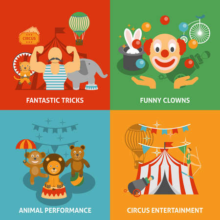 Circus icons set with fantastic tricks funny clowns animal performance and entertainment flat isolated vector illustration