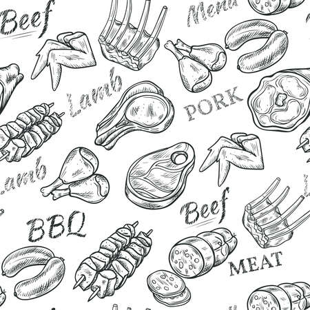 Meat black white sketch seamless pattern with beef and pork vector illustration
