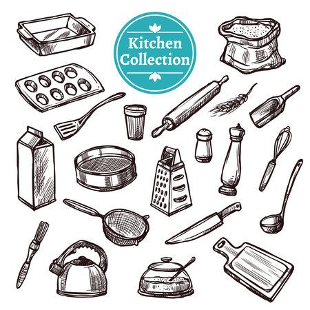 Baking stuff and retro kitchen equipment hand drawn set isolated vector illustration