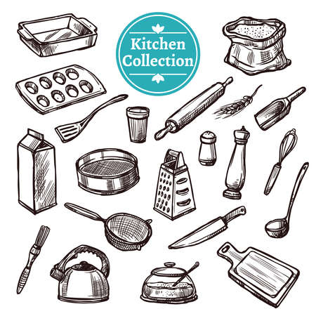 Baking stuff and retro kitchen equipment hand drawn set isolated vector illustration