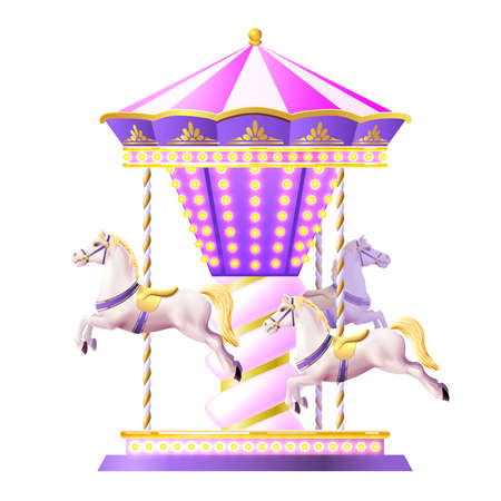 Retro merry-go-round carousel with realistic white toy horses and golden lights vector illustration Ilustracje wektorowe