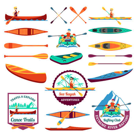 Canoe trails and rafting club emblem with kayaking equipment elements flat icons composition abstract isolated vector illustration