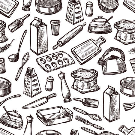 Baking seamless pattern with sketch kitchen equipment and tools vector illustration Vector Illustratie
