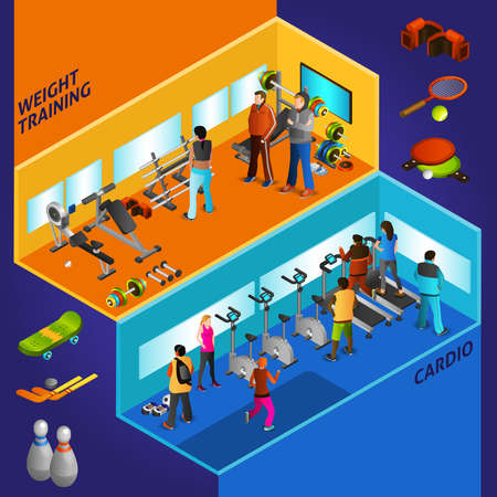 Sports equipment cardio and weight training with athletes isometric compositions vector illustration