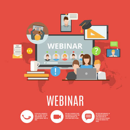 Webinar flat design concept with icons of online information exchange and corporate conference flat vector illustration