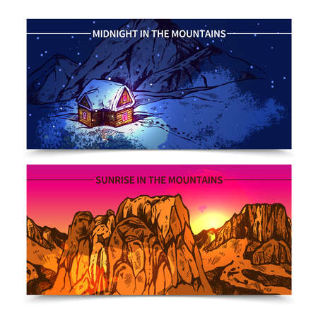 Sketch style 2 banners presenting winter midnight in mountains and sunrise in like canyon mountains vector illustration