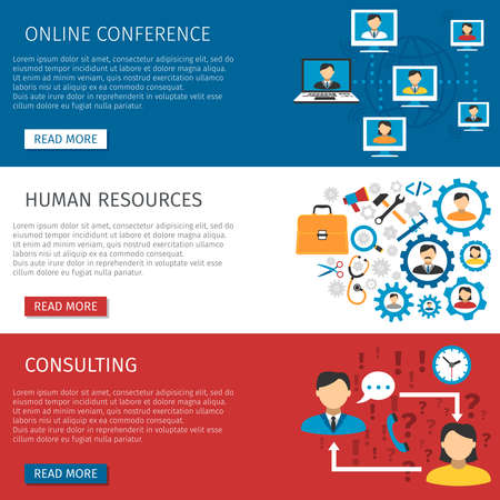 Human resources teams online conferences and consulting website 3 flat interactive banners design abstract isolated vector illustration