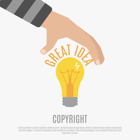 Copyright compliance design concept with bright light bulb human hand and great idea text vector illustration