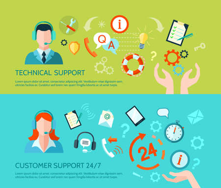Comprehensive technical assistance and round the clock customer support flat style horizontal banners isolated vector illustration