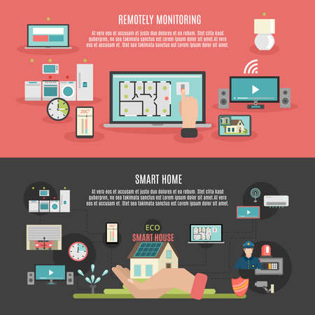 Smart home iot internet of things remote control and monitoring 2 flat banner isolated abstract vector illustration