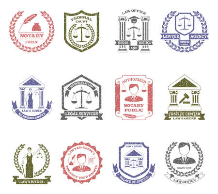 Law and order logo stamps set with lawyer agency and justice center symbols flat isolated vector illustration