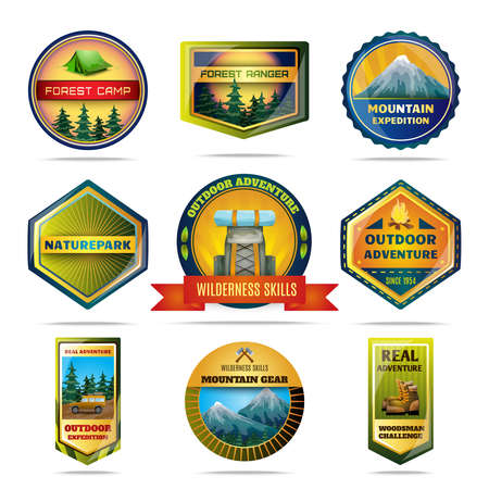 Camping nature parks and outdoor adventures emblems set isolated vector illustration