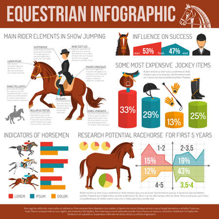 Infographic equestrian sport with jockey items and research potential racehorse flat vector illustration.
