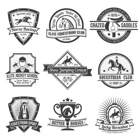 Equestrian sport black emblems set on white background isolated vector illustration.