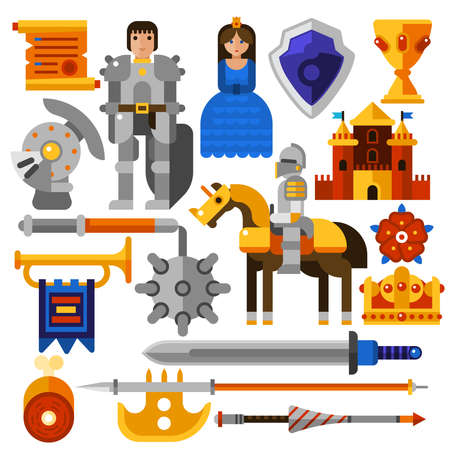 Flat icons set with knight princess castle medieval weapons and other elements isolated vector illustration