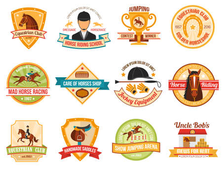 Jockey color emblems set with horse riding equipment and race isolated vector illustration. Vetores