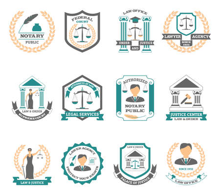 Lawyer logo set with legal services court and justice symbols flat isolated vector illustration