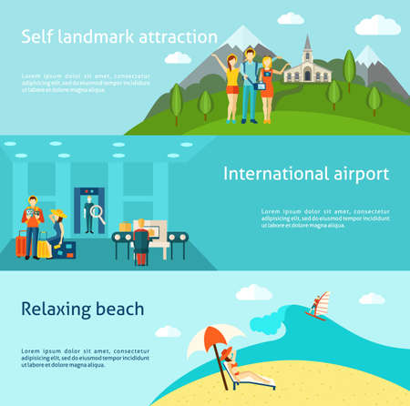 Tourists at international airport and relaxing on the beach flat horizontal banners set abstract isolated vector illustration