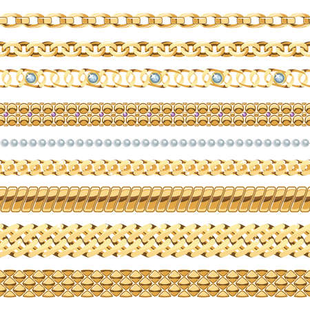 Jewelry chains realistic set with gold and pearl chains isolated vector illustration