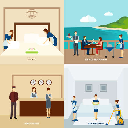 Hotel staff design concept set with restaurant service and housekeeping icons isolated vector illustration