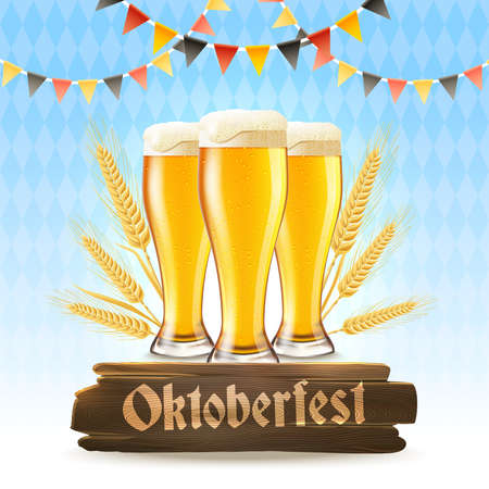 Oktoberfest poster with realistic lager glasses wheat and wooden signboard vector illustration