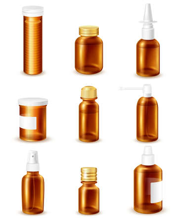Pharmaceutical transparent bottles realistic set with liquid medicines isolated vector illustration