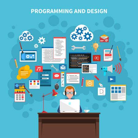 Programming and web design concept with programmer figure and website development symbols vector illustration Vektorové ilustrace