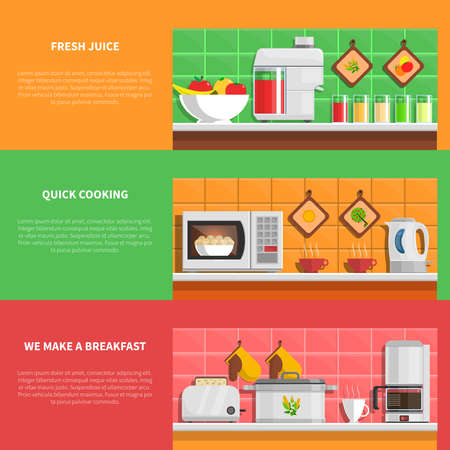 Household appliances horizontal banners set with fresh juice and quick cooking symbols flat isolated vector illustration