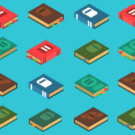 Printed book seamless pattern on blue background isometric vector illustration