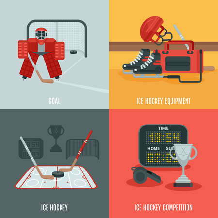 Playing ice hockey icons set with equipment competition and goal flat isolated vector illustration
