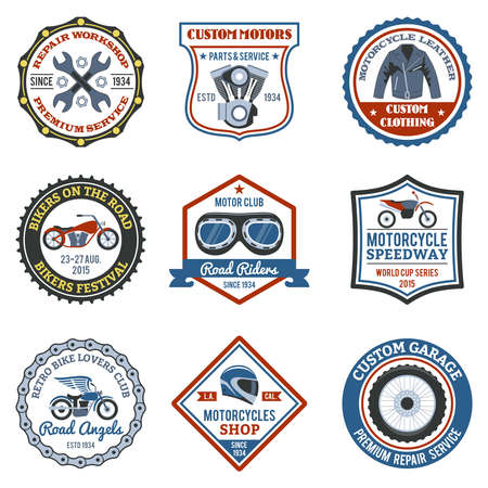 Motorcycle label colored set with transport clothing and workshop symbols isolated vector illustration