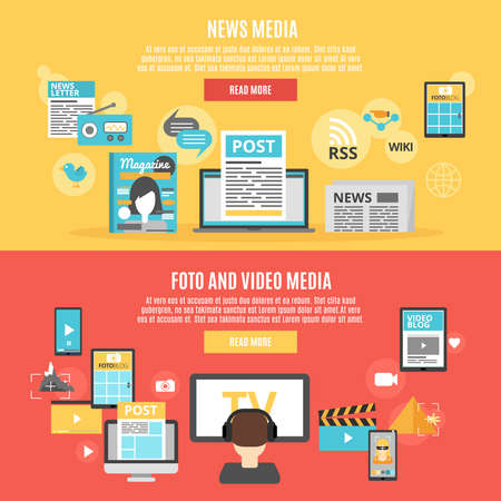 Press and social media horizontal banners set with photo and video blogs symbols flat isolated vector illustration Stockfoto - 165626894