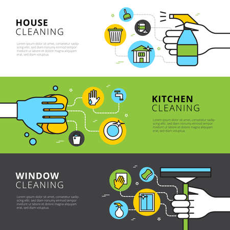 Cleaning flat horizontal banners with hands detergents and tools for house kitchen and window cleaning vector illustration