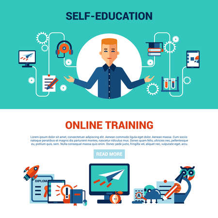online education horizontal banner set with young man computer self education and online training icons vector illustration Vector Illustratie