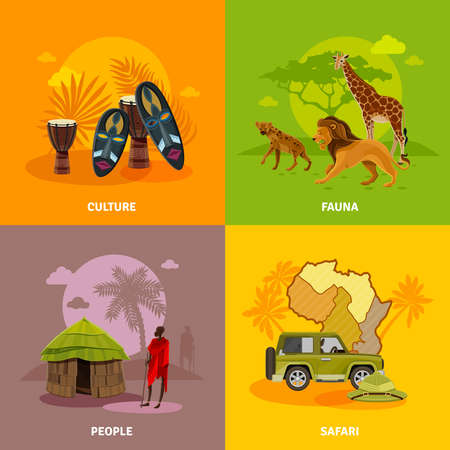 Africa concept icons set with culture fauna and people symbols cartoon isolated vector illustration