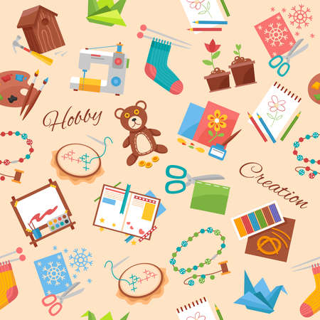 Hobby and creation flat pattern with handicraft elements and supplies for handmade background vector illustration Vecteurs